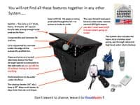 Flood-Buster packaged sump and sump system with alarm